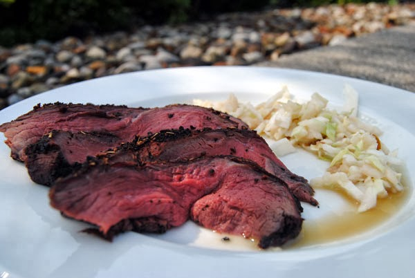 Coffee Rubbed Elk Roast with Maple Slaw