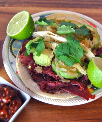 Corned Beef Tacos with Jalapeno Kraut & Chiltomate Sauce