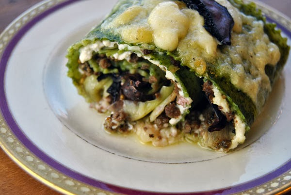 Spinach Lasagna Rolls with Red Wine Mushrooms & Italian Venison Sausage