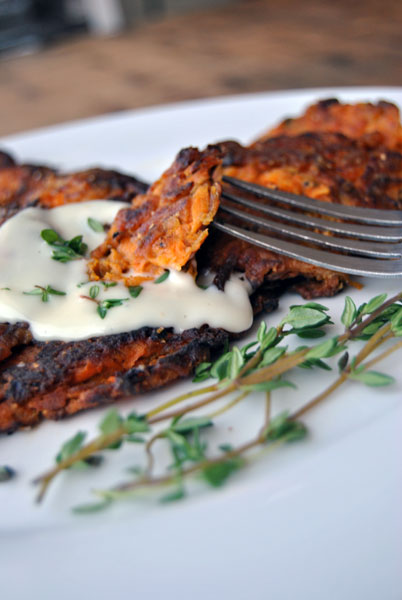 Sweet Potato Pancakes with a Weston Drum Shredder