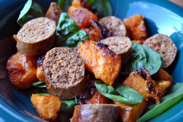Venison Merguez, Sweet Potato & Spinach Bowls