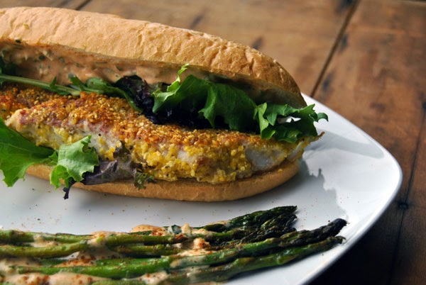 Walleye Po'Boy with Smoked Asparagus