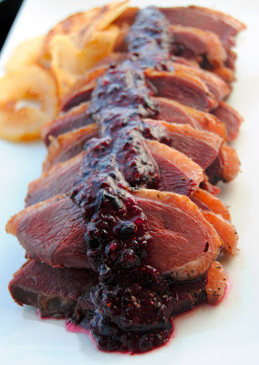 Smoked Wild Goose Breasts with Roasted Pears and Blueberry Sauce